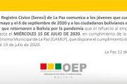 El refuerzo al empadronamiento en la ciudad de La Paz se realizará hasta el 15 de julio